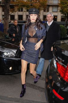 Bella Hadid out in Paris 28/10/16 Her Chrome Hearts hat is not available online! Her Are You Ami bralette here! ($150) Her Basic Swim sheer bodysuit here! ($88) Her Alexandre Vauthier denim combo is not available online! Her Dries Van Noten boots...