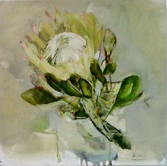 Organic matter Oil Painting Flowers, Watercolor Flowers, Watercolour, Floral Paintings, Oil Paintings, Flower Art, Art Flowers, White Flowers, Protea Art