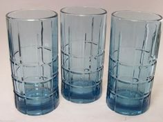 Anchor Hocking Tartan  Blue Ice Tea Water Glasses 16 oz. Set of 3