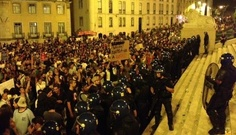 Portuguese Congress was surrounded yesterday by a demonstration against latest austerity cuts