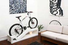 Bike storage options for small apartments - Little Piece Of Me Bike Storage Options, Bike Storage Design, Bicycle Storage, Storage Ideas, Shoe Storage, Bike Hanger, Bike Rack, Velo Design, Range Velo