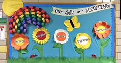 a bright and eye-catching bulletin board idea for the spring season I spent the better part of three days in late March designing and . Flower Bulletin Boards, Speech Bulletin Boards, Rainbow Bulletin Boards, Spring Bulletin Boards, Library Bulletin Boards, Preschool Bulletin Boards, Bullentin Boards, April Bulletin Board Ideas, Seasonal Bulletin Boards