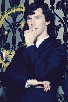Benedict Cumberbatch as Sherlock Holmes. It looks like this was taken in Holmes & Watson's place.