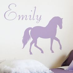 Pretty Horse - Personalized Monogram - Wall Decals Stickers Graphics