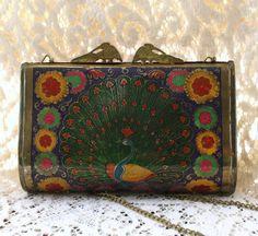 Art nouveau enameled metal peacock box purse $120