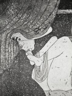 GRAVURE / EAU-FORTE / Collection BigNana / Jeune femme et son hérisson détail 3    https://www.etsy.com/fr/shop/CFTurcas