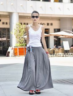 Light Gray Casual Linen Wide Legs Long Pants  by Sophiaclothing, $59.99