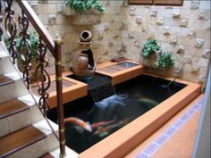 20 Indoor Fish Pond Design Ideas For Small Spaces Outdoor Fish Ponds, Indoor Pond, Indoor Water Garden, Ponds Backyard, Garden Pool, Garden Beds, Home Design, Design Ideas, Interior Design