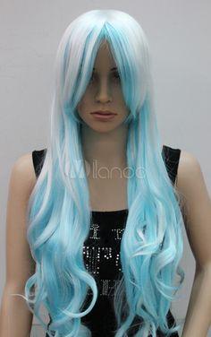 Fashion New Long Curly White /Light Blue Women's Wig - Milanoo.com