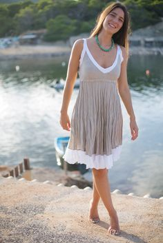 Short Crinkled Linen Dress in Natural Sand with White Trim by azulsol