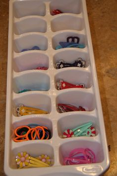 neat idea... ice cube tray for hair accessories