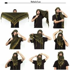 Buy Shemagh - Information about this cotton scarf and how to tie it, Survival Life Hacks, Survival Tools, Urban Survival, Camping Survival, Outdoor Survival, Shemagh Scarf, Arab Scarf, Volleyball Workouts, Tactical Clothing