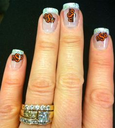 old school Oklahoma State University logo nails with glitter tips (for the 2012 Fiesta Bowl) - Go Pokes!!!