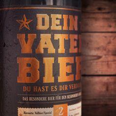Das Vaterbier in der 2 Liter Bügelflasche mit Heißprägefolie in Kupfer. Das sieht echt edel aus und freut jeden Bierliebhaber. happy father's Day + father beer + vatertag + geschenk geburt + geschenk vater + vaterbier