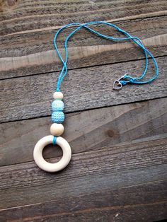 Nursing Necklace | Teething Necklace | Breastfeeding Necklace | Babywearing-  Turquoise Crochet Beads and Wood Beads and Ring