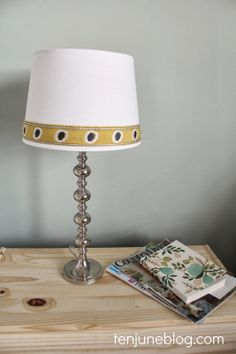 DIY lampshade makeover with fabric trim via Ten June