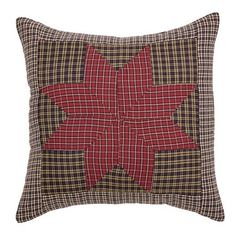 """Carson Star Patchwork Fabric Pillow 16"""" Filled"""
