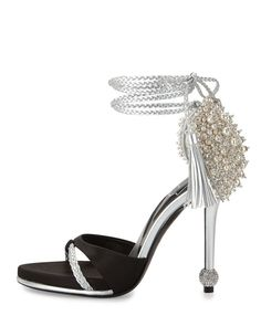 5a0cebea1949 Roger Vivier - Lasso Pearly Ankle-Wrap Sandal Beaded Sandals