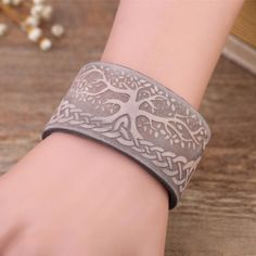 ae75af88e7b6 Leather Cuff Tree of Life with Wiccan Knots Amulet