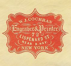 Graphic design & calligraphy: W. J. Cochran Engraver & Printer