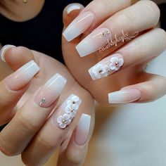 French Fade Nails, Faded Nails, Ombre Nail Designs, Nail Art Designs, Dimond Nails, Crome Nails, 3d Flower Nails, Pink Ombre Nails, Bridal Nail Art