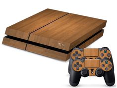 Light Wooden PS4 Sticker PS4 Skin PS4 Stickers + 2Pcs Controller Skin Console Stickers PS4 Protective Skin