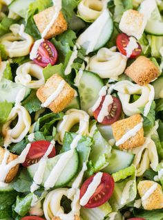 Caesar Salad with Cheese Tortellini has crunchy vegetables, cheesy tortellini, and the easiest homemade Caesar salad dressing around!