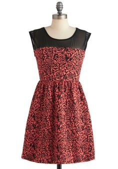 Marvel Arts Dress - Short, Orange, Black, Floral, Party, A-line, Sleeveless, Fall, Cocktail, Sheer, Coral
