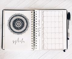 September monthly spread 🖋    Instagram 2017 Bullet Journal, Cogito Ergo Sum, Calendar, Bujo, September, Instagram, Ideas, Life Planner, Thoughts