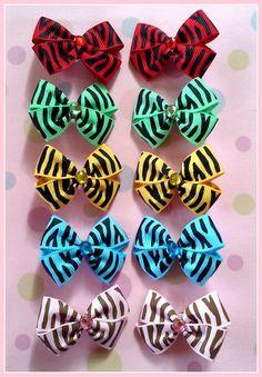 Zebra Bitsy Bows 5 pairs by Flowers4Emily on Etsy