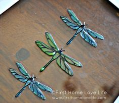 Dragonflies & Butterflies Faux Stained Glass (tutorial)