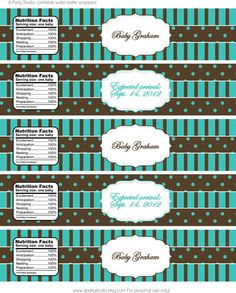 Turquoise and Brown Water Bottle Wrappers for Baby by APartyStudio, $7.00 #abees #rt