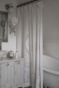 Shabby Chic PLASTIC CURTAIN AND LACE CURTAIN,