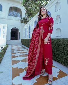 Maroon Wildflower Handblock Suit Set Aachho Maroon Cotton Kurta Set adorned with Golden Flower Handblock The set comes with the same Maroon Handblock Dupatta. Eid Outfits, Indian Outfits, Summer Outfits, Ethnic Fashion, Indian Fashion, Girl Fashion, Maroon Suit, Salwar Designs, Embroidery Suits