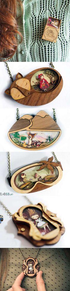 Designer cria joias de madeira e resina com cenas inspiradas nos contos de fadas stylo urbano #arte #design #joias