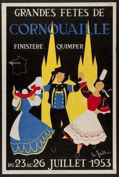 Grandes fêtes de Cornouaille - Quimper, Finistère, Bretagne - 1953 -