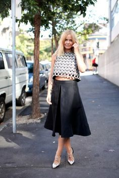 """Model Lara Bingle in a sophisticated crop top."" @ Aussie Fashion Week"