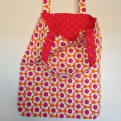 Pink and Orange Retro Flowers and Polka Dot Lining Dotted Line, Retro Flowers, Shopping Bags, Fabulous Fabrics, Polka Dot Top, Orange, Sewing, Pattern, Pink