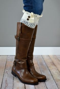 Ivory Boot Cuffs with Crochet Top | { bootcuffsocks.com }