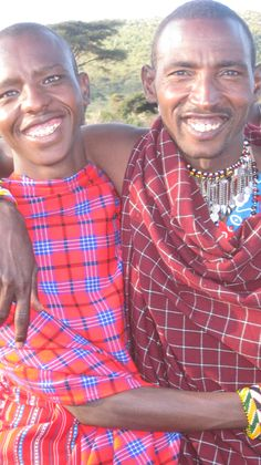 Happy. Men from the Masai tribe in Kenya.