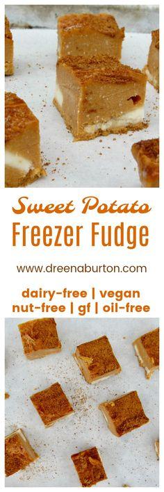 SWEET POTATO FREEZER FUDGE! No dairy, no butter, no white sugar! Vegan, gluten-free, nut-free, and oil-free!
