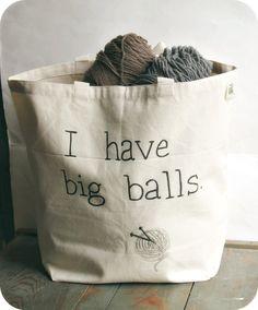 Tote Bag Yarn Bag Black White Hand Painted Recycled Cotton funny humor shoulder bag knitting crochet project bag. $23.00, via Etsy.