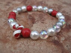 Holiday Candy Cane Bracelet with Red by MakeMeSmileJewelry on Etsy, $17.00