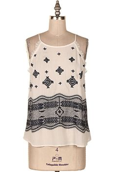 GEOMETRICAL EMBROIDERED TOP.   #12L-T14477 − Pre-Order