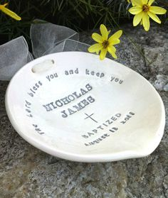 Had one of these made for my Godson Dylan.  A gorgeous, sentimental, one of a kind gift used during his baptism to hold the water!