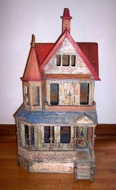 Very-Rare-Vintage-Antique-19th-c-R-Bliss-3-Story-Wood-30-034-Dollhouse-Doll-House