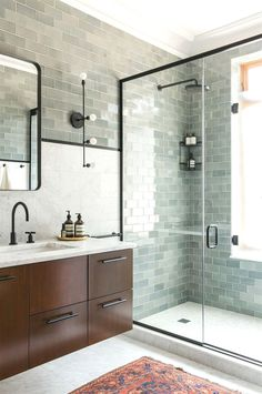 Green tile is trending in interior design. Here are 35 reasons why we can't get enough green tile. For more interior design trends and inspiration, visit domino. Bad Inspiration, Bathroom Inspiration, Bathroom Trends, Bathroom Ideas, Bathroom Remodeling, Remodeling Ideas, Bathroom Storage, Bath Ideas, Bathroom Makeovers