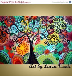 on SALE Large Glossy Giclee Whimsical Boho Gypsy TREE of JOY Gallery Canvas ready to hang by Luiza Vizoli