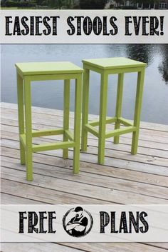 These stools are an awesome build. They are the perfect project for a Saturday afternoon. And such a fun color too! *PLUS* 17 Simple Furniture Building Plans for Beginners