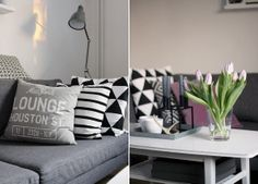 Pillows and tulips, shades of grey and lilac